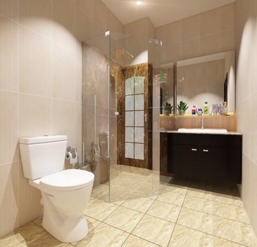 Toilet của nhà 4 tầng hiện đại sử dụng chất liệu gạch giả đá