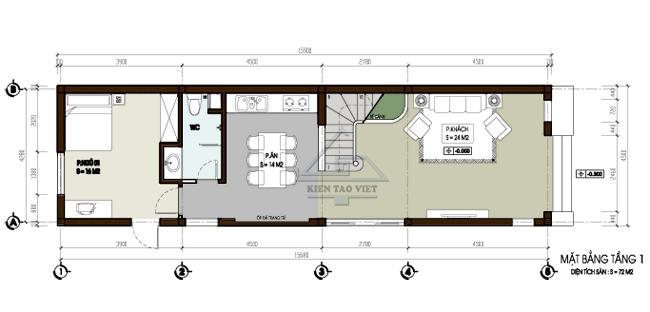 Thiết kế nhà phố 2,5 tầng diện tích 7x15m | ảnh 2
