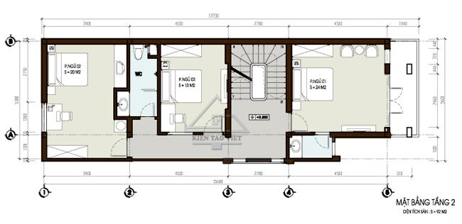 Thiết kế nhà phố 2,5 tầng diện tích 7x15m | ảnh 3