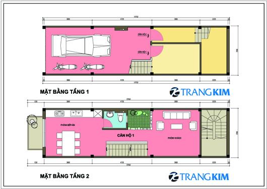 Thiết kế nhà trên đất 3,9x14m cho hai hộ gia đình