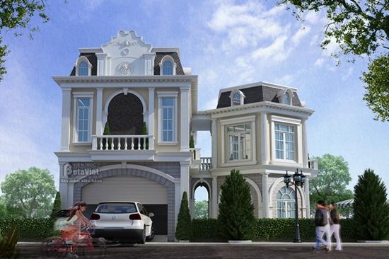 Tư vấn thiết kế, xây biệt thự 2 tầng kiểu Pháp