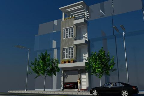 Tư vấn thiết kế nhà dân: thiết kế nhà phố 4 tầng mặt tiền 4,3 m