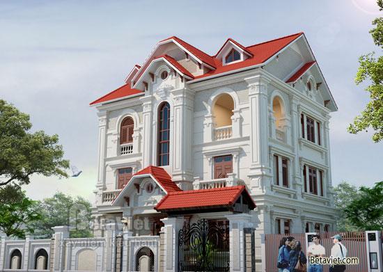 Phối cảnh tổng thể công trình biệt thự đẹp 3 tầng