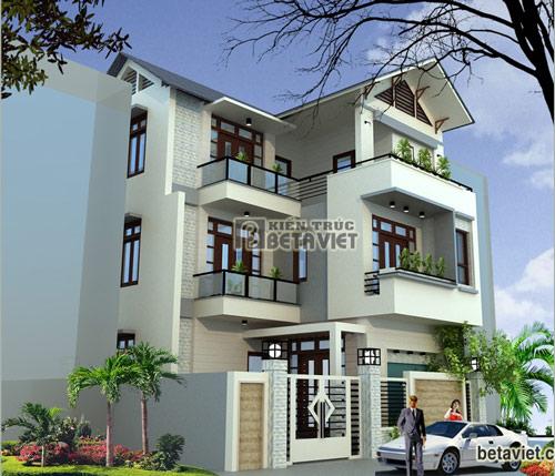Thiết kế nhà 3 tầng hình chữ L