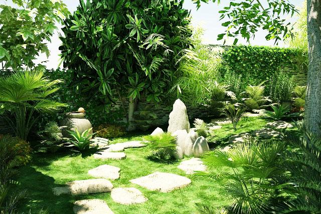 Trong sân vườn trồng cây xanh có tác dụng làm cho không khí mát mẻ, trong lành.