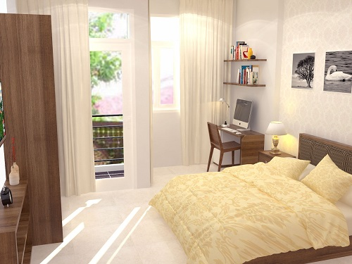 Phòng ngủ bố mẹ tận kết hợp làm làm việt , cửa sổ và cửa đi ra ban công làm không gian tràn ngập ánh sáng.
