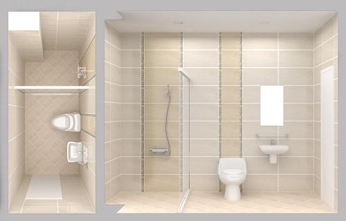 Nhà tắm trên lầu tông màu sáng, vách ngăn làm sàn phòng tăm luôn khô ráo