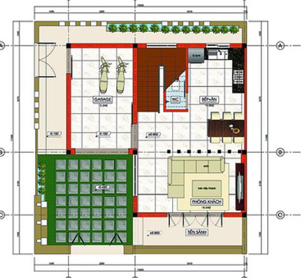 Tư vấn thiết kế xây nhà 2 tầng trên đất vuông 11x11m | ảnh 3