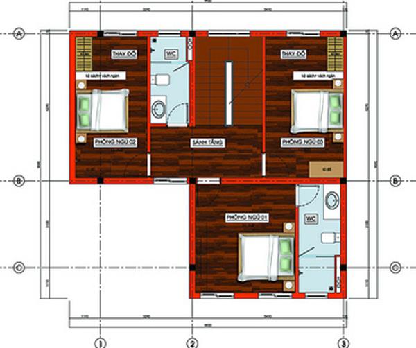 Tư vấn thiết kế xây nhà 2 tầng trên đất vuông 11x11m | ảnh 4