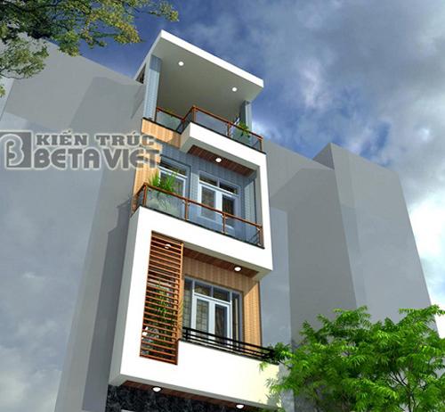 Mẫu nhà đẹp-mẫu nhà phố hiện đại 3,5 tầng