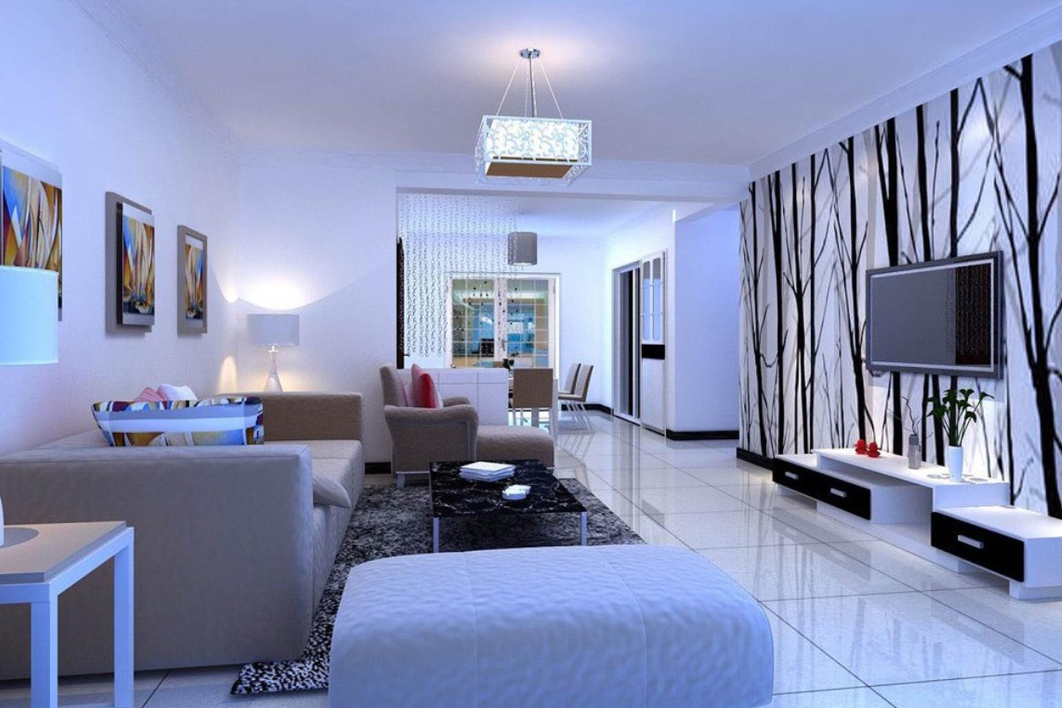 Trang trí phòng khách hợp mệnh với tông màu trắng chủ đạo và đồ nội thất màu xanh