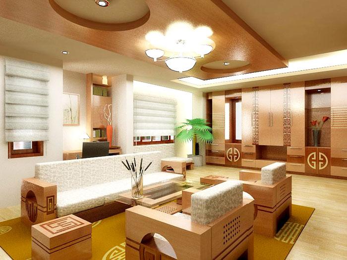 Mẫu thi công trần vách thạch cao cho phòng khách thông dụng