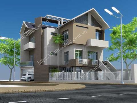 Thiết kế nhà 3 tầng trên đất hình thang, mặt tiền 3,5 m